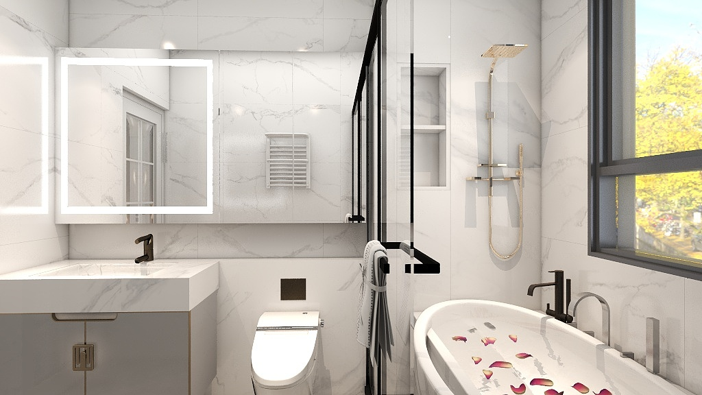 卫生间空间不大,略显紧凑,以白色调为主打,倍显温馨与舒适,实用不失美观。