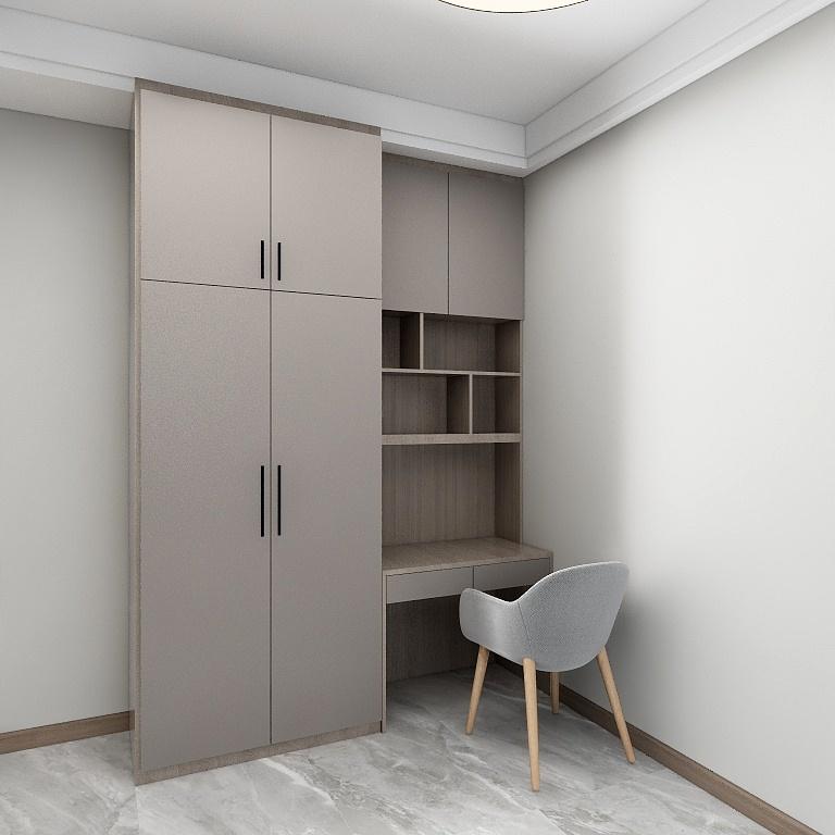 米色直線條在空間的勾勒一點兒也不乏味,簡潔的直線寫字桌與衣柜結合,提升空間使用率。