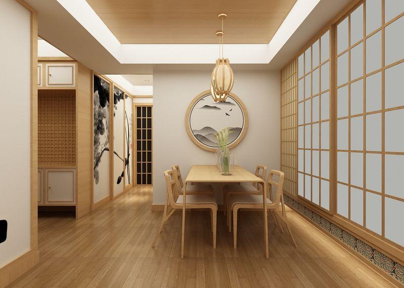 餐厅也给人一种儒雅的感觉,餐桌紧挨着木门,可以说是全世界人民最熟悉的日本元素了。