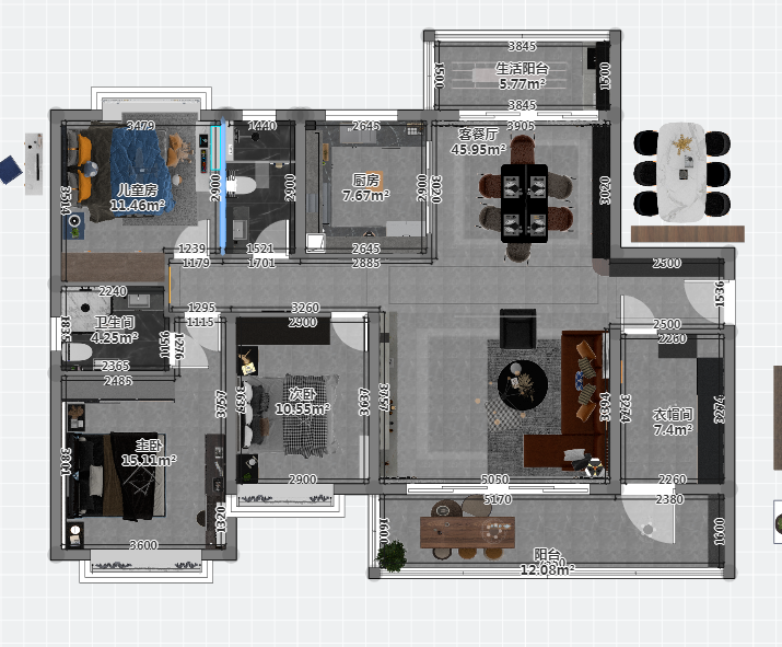 客厅与朝北的小阳台相连,与餐厅相连,整个房子三面相连,通风采光佳。