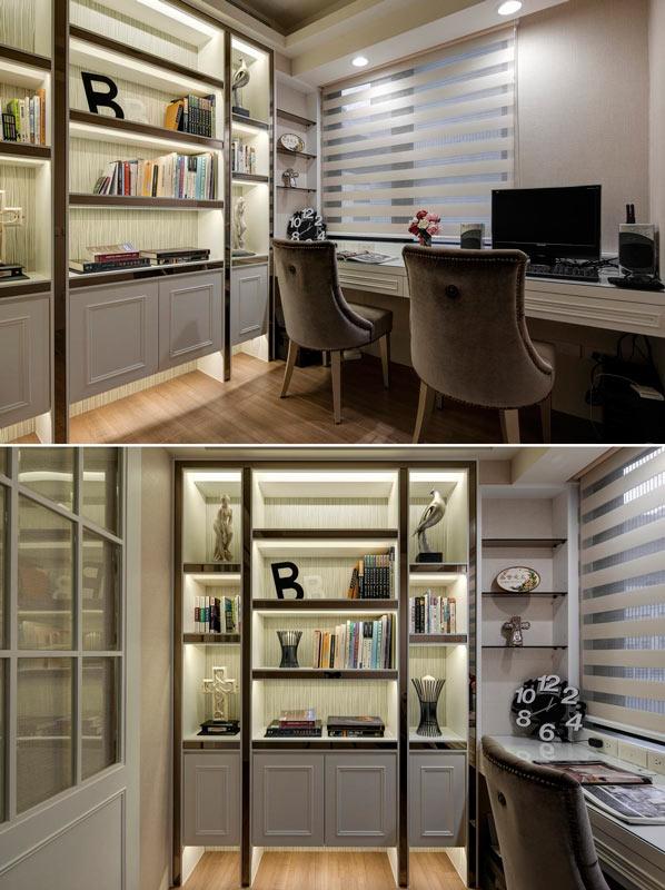 书房靠近窗户,保证了自然光线的流入,书架上放上自己喜欢的书,让学习也变成生活中的一种乐趣。