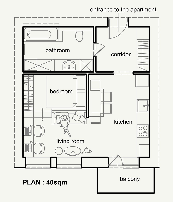 这是一套建筑面积65平的单身公寓,户型不算太小,整体显得很是浪漫惬意