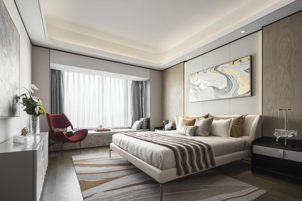 原木纹理装饰的墙面营造出了典雅浪漫的氛围,加入了醒目的红色单人椅,视觉冲击力带来无与伦比的装饰效果。
