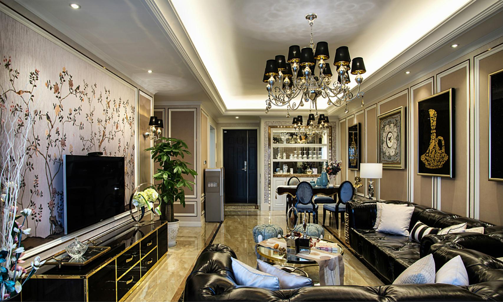 客厅使用黑色色的吊灯,黑色的台面,这种黑白配大胆又耐看