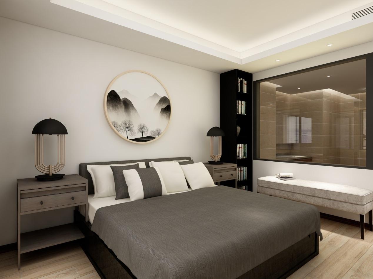 房间的一角,业主充分利用空间,放置一列小书架和长凳,闲暇时还可以坐在上面看书,当做一个小型书房。