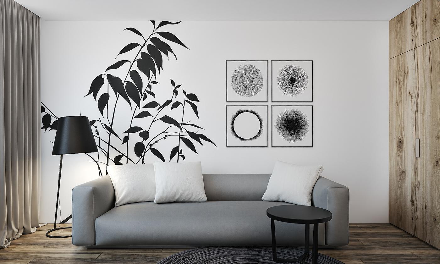 灰色的沙发,以及墙上贴的花,简单大气,有种艺术品味。