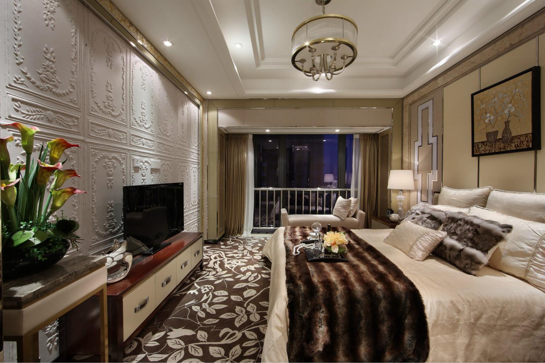 卧室更加体现了欧式的大气,落地床纱  多用蕾丝,雕花,皮纹,金属吊灯  整体还是突出白色调的大气