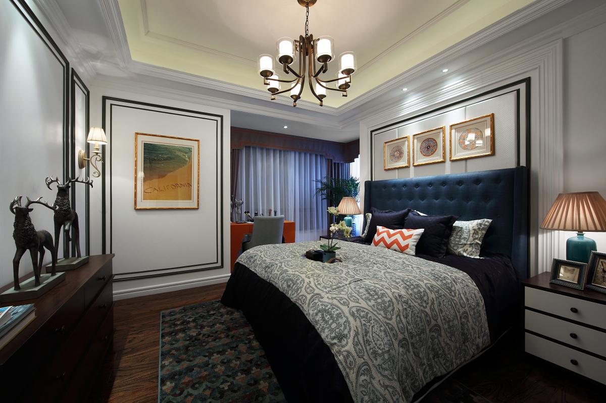 新古典风格讲求对称造型,两边的床头柜起到了视觉平衡,在璀璨光华的灯影下,传递出端庄秀美的气质。
