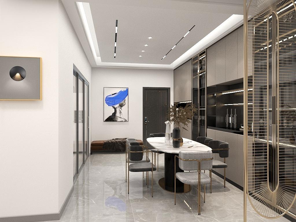 餐厅无主灯设计,美观实用,细腿餐椅营造精致感,餐边柜设计优雅大气。