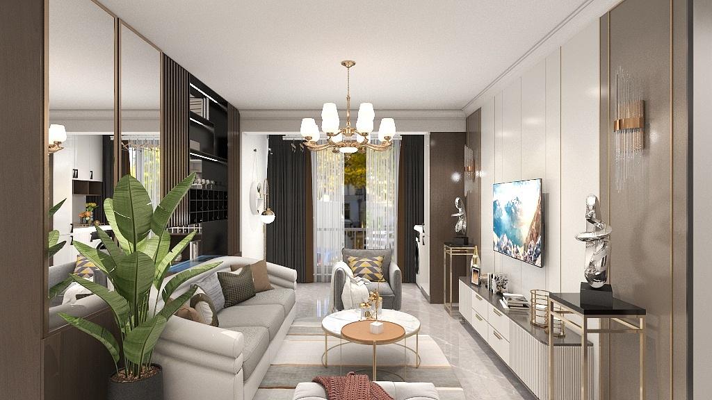 沙发背设置收纳柜,不影响空间通透性,还能增加收纳空间,且起到空间分区的作用。