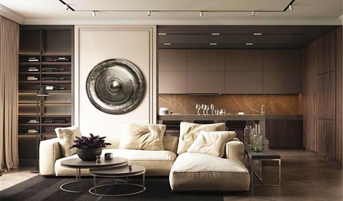 客厅空间,选择了以深灰色为主调,整个沙发以米白色为主,不是粗糙的麻布,选择了细腻的棉布质地。