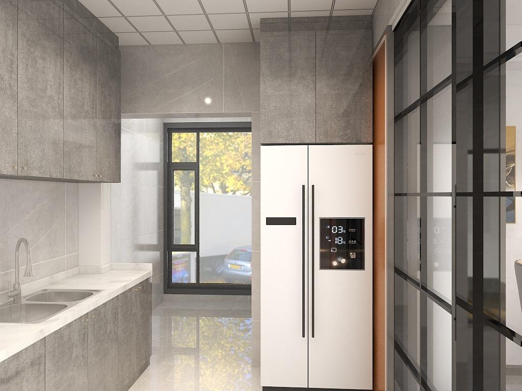 厨房配色简洁,视觉舒适,没有多余的装饰,橱柜线条简单,厨房空间大气自然。