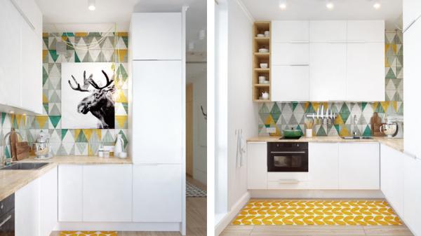 厨房顶部安装顶柜,极大增加收纳空间。