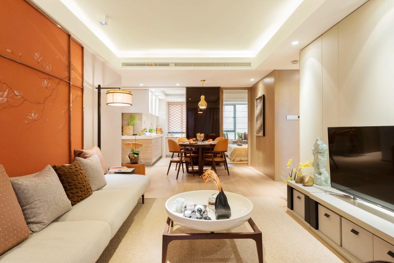 客餐厅一体设计增加居室互动,灵活便捷,从客厅望向餐厅,静谧温馨。