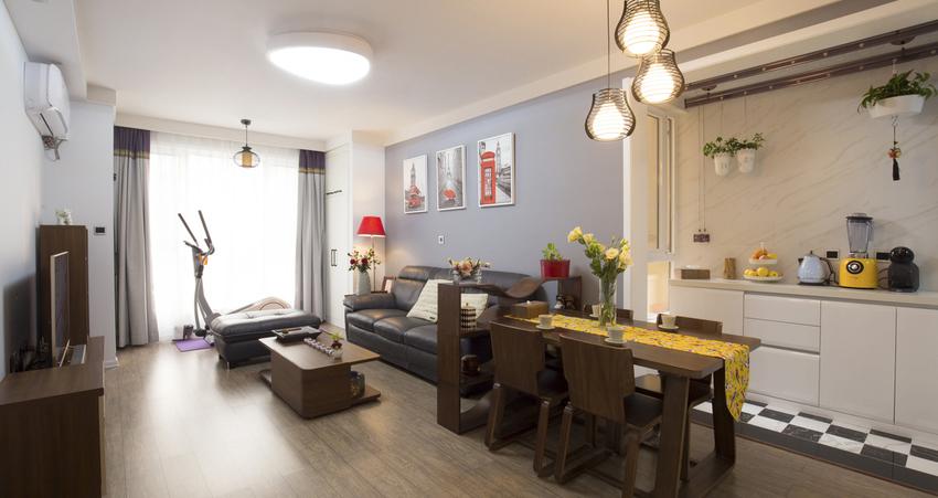 厨房、客厅、餐厅三者的全开放格局,让小空间布局不再尴尬。