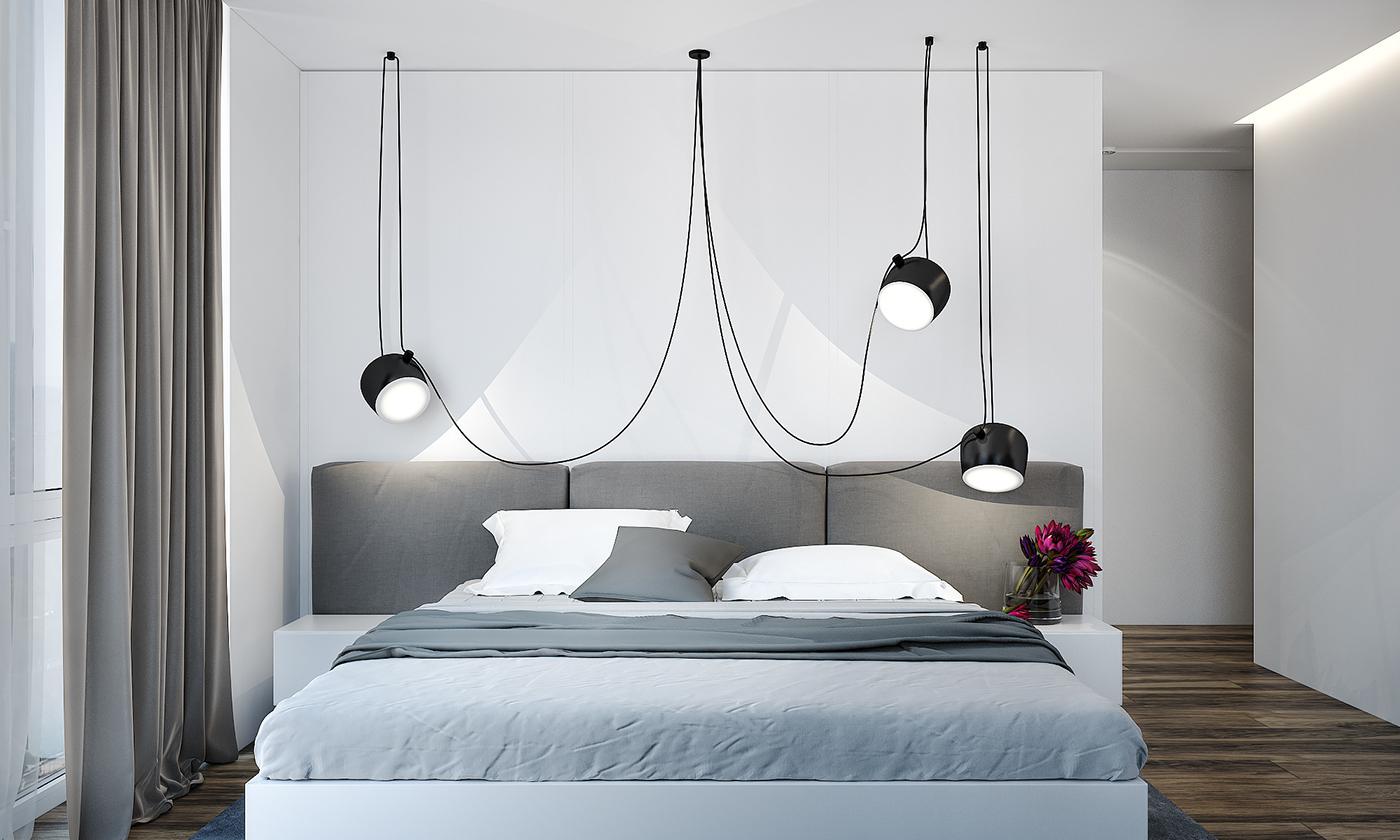卧室灰白两种简单大气,有品位,吊着三个黑白灯,既有品味。