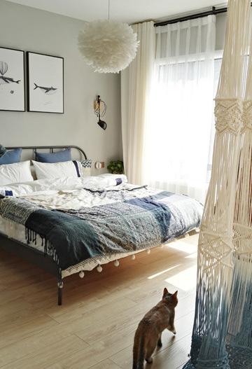 特别喜欢的应该是主卧套间的门帘吧。