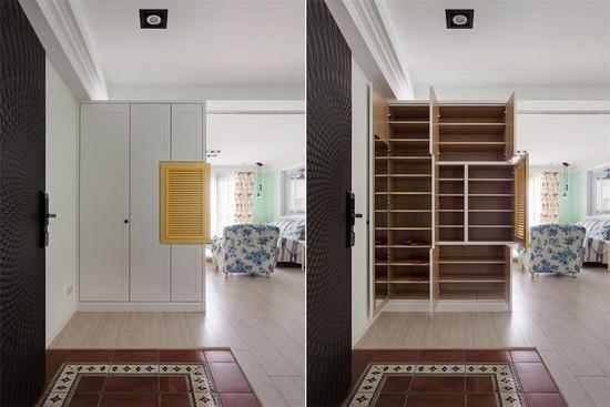 西班牙复古地砖的后方,白色鞋柜缀点暖黄色百也门片,增添彩度层次。