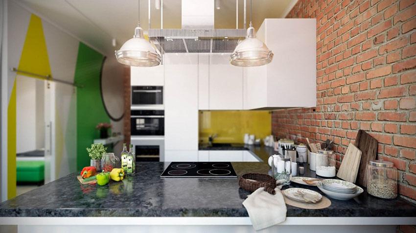 厨房和餐桌是一体化,质朴之感令人印象深刻,绿植的摆放也非常养眼。