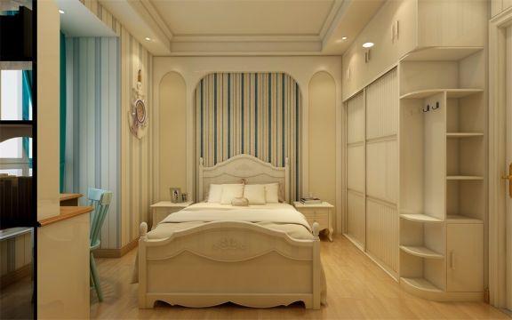 顶面用简单的石膏线修饰,衣柜选用简欧样式,以白色为主,使得整个空间散发出清新自然的感觉。