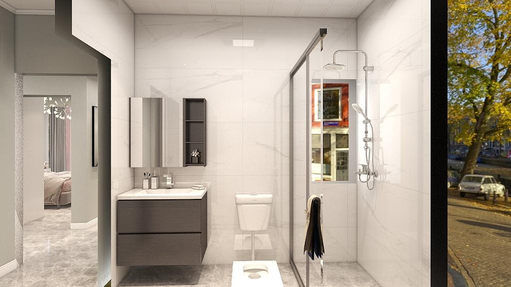 卫生间和谐舒适的颜色搭配,让人感觉特别温馨,在温和的灯光中有一种闲静之感。
