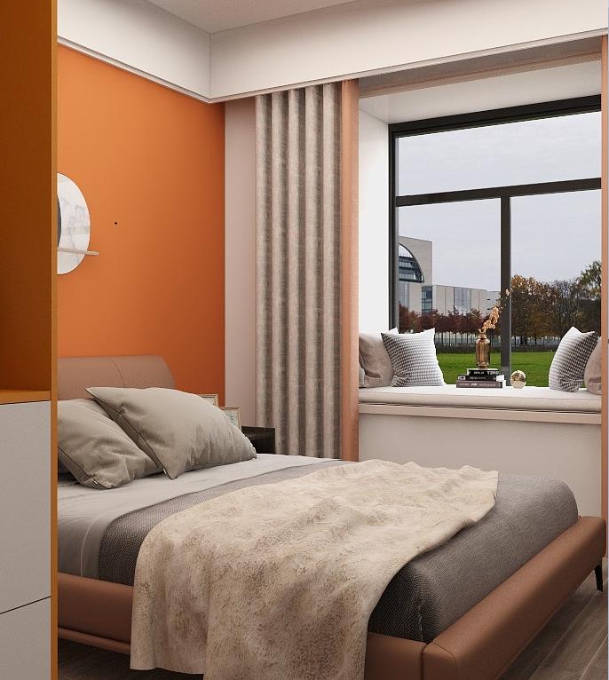 橘色背景墙非常明亮,与灰色搭配更显精致,描绘出简洁素雅的空间效果。