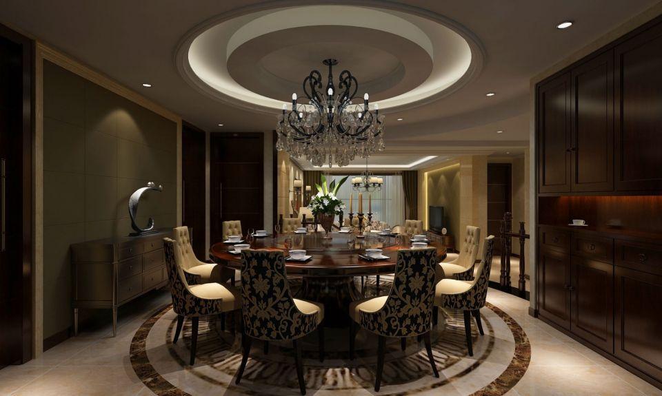 餐厅设计豪华大气,与整体风格融为一体,水晶大吊灯,搭配圆形餐桌,打造浪漫温馨的用餐氛围。