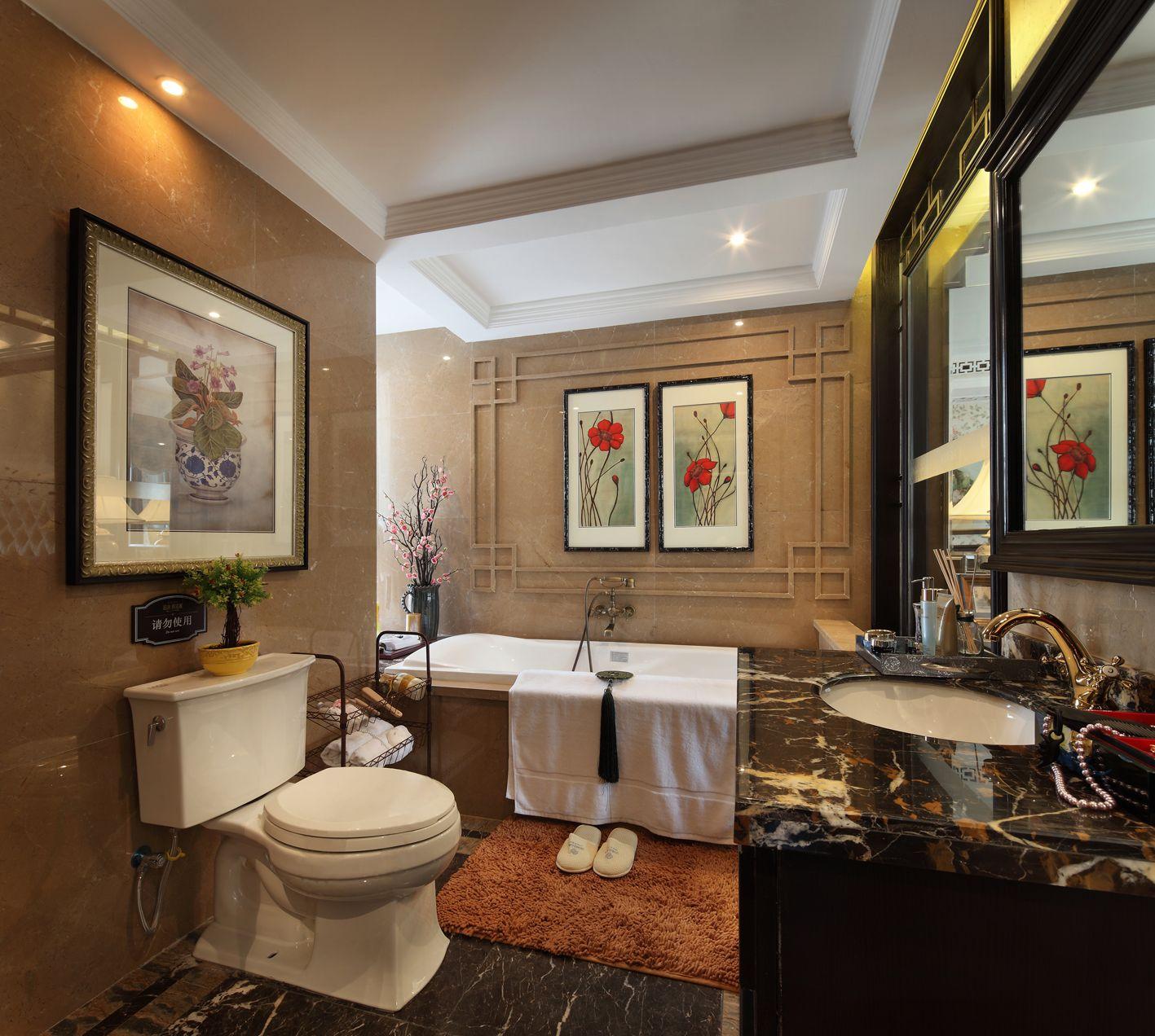 卫生间洗手台柜子和浴室镜框都选择了深棕色的实木,把新中式的风格特点完美的展现出来。