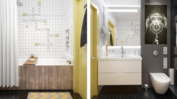 色调明快的卫生间让身处其中的人心情也明快起来。