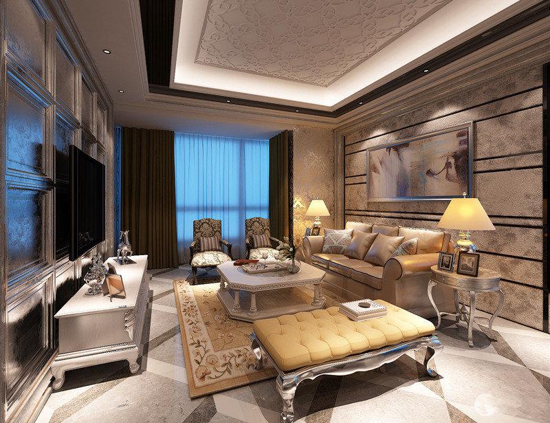 客厅空间以棕色、黄色和白色为主调,利用欧式花纹装饰,营造空间的富丽华贵。