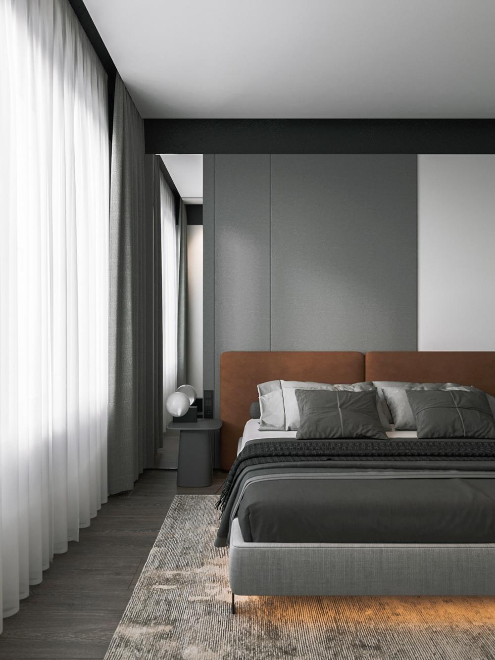 卧室以白色和灰色为祭祀奥,整个空间的气氛带着些许克制感,有效的避免了过多色彩的注入。