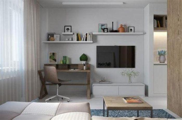 在电视和书桌上方的墙面上错落的方式打造收纳搁板,不仅装点了单调的墙面,也为小户型开辟出新的收纳空间。
