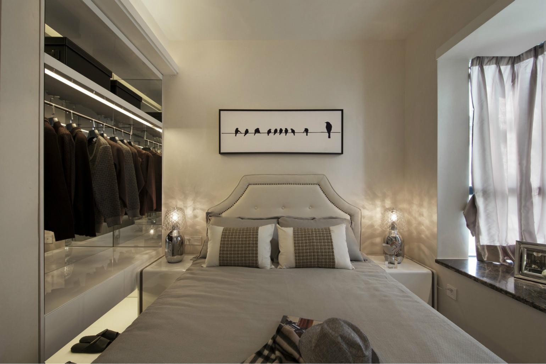 次卧墙面以米黄色的乳胶漆刷至而成,营造了甜美之感