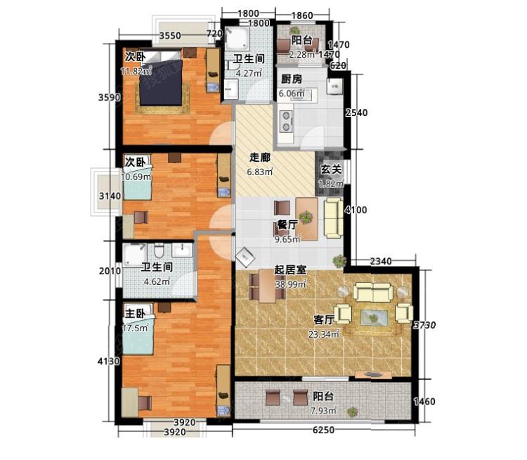 简约三居的户型平面图。