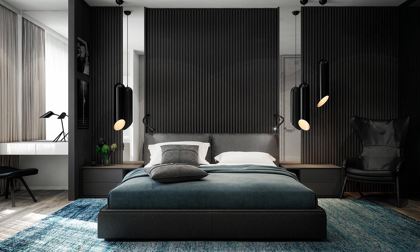 主卧室黑色的背景墙,搭配蓝色的床品以及蓝色的地毯,很是温馨舒畅
