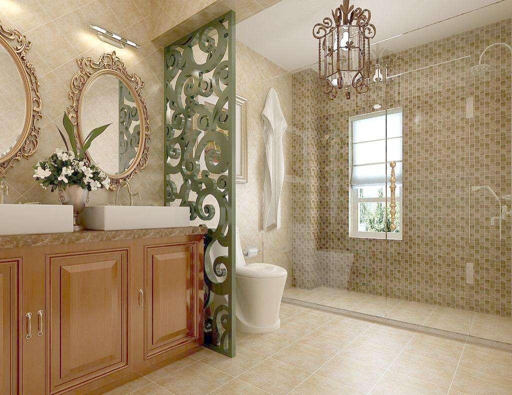 卫生间绿色栅栏设计很有新意,巧妙进行隔离。