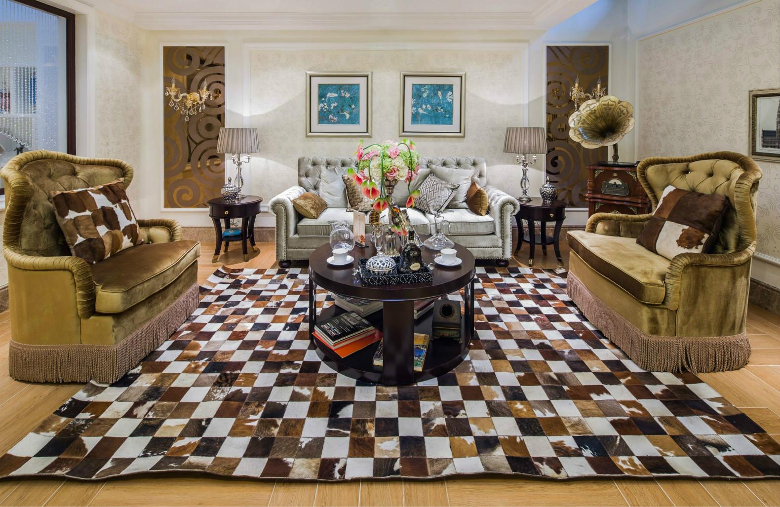 客厅地面麻质地毯,空间通过功能主义和现代主义相结合呈现一种更富情感化的简洁设计