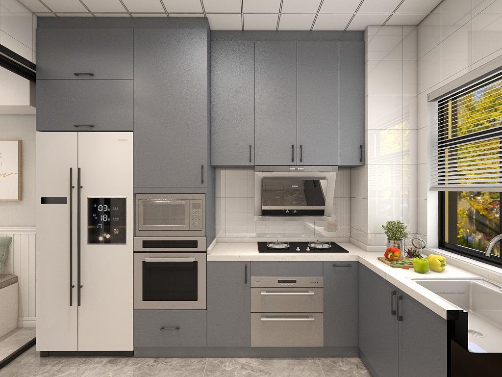 L型橱柜布局,基本是流水线操作的形式,在厨房做饭操作很流畅。