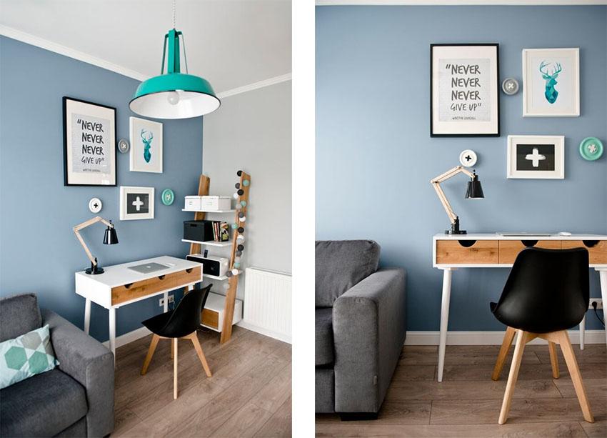 书房用淡蓝色的墙面装饰,搭配木质元素,简单肌肤装饰画的点缀,小小的空间也显得十分有格调。