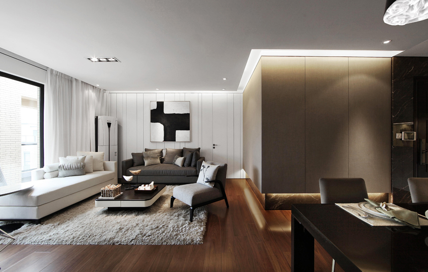 客厅在黑白灰三色的交错中,显得那么和谐。