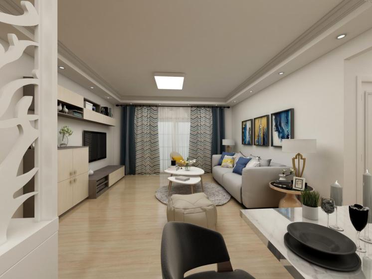 客厅整体造型简单,没有多余繁琐的装饰,空间轻松明亮,整体色调给人温馨舒适的生活氛围,优雅而富有内敛。