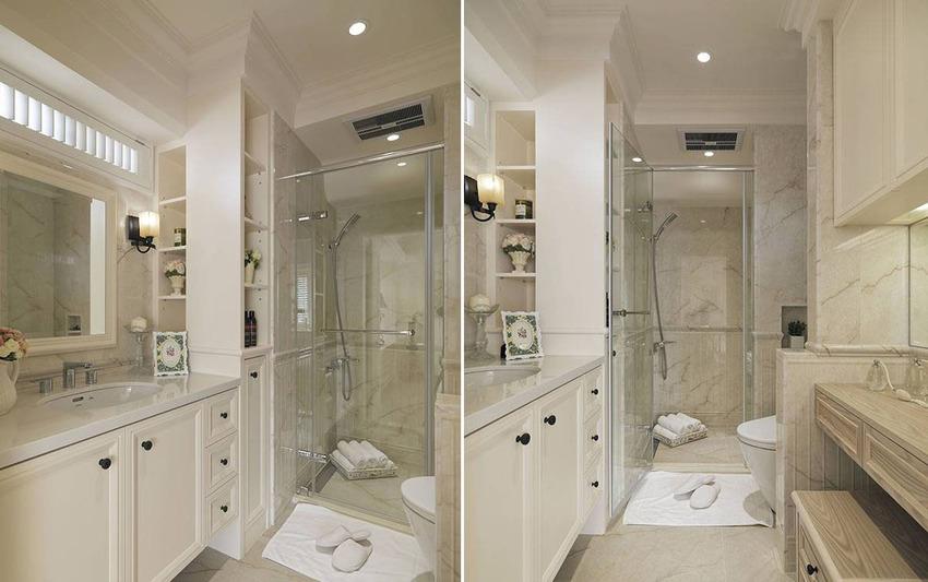 结合梳妆台、梳洗淋浴与泡澡机能的三进式卫浴,是女主人最喜爱的独处空间。