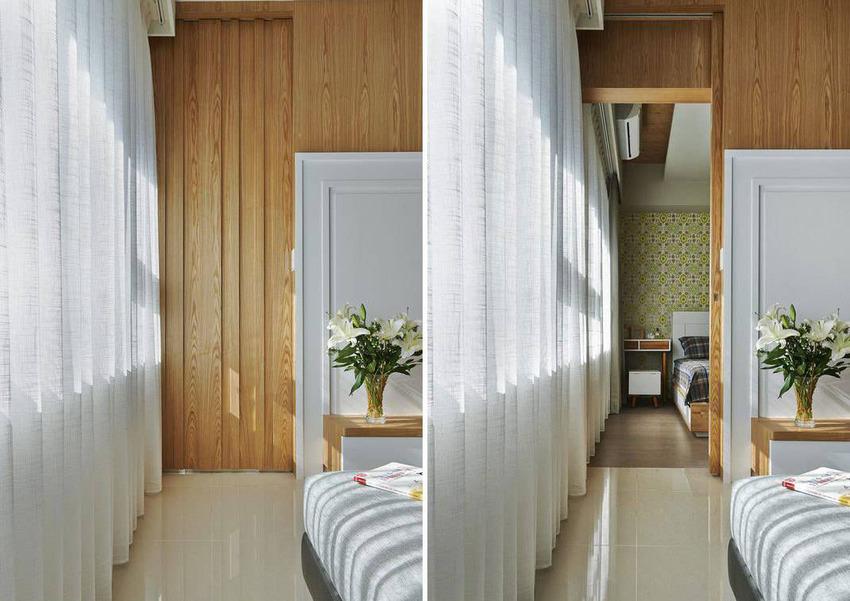 木作凹凸变化的立面景致,看似对称的墙面造型收尾。