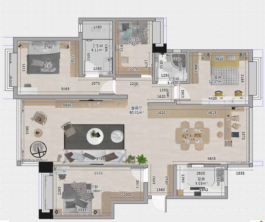 户型动静分区,干湿分区,很实用,三个卧室集中在一起,家里有客人前来也不影响家庭成员的休息。
