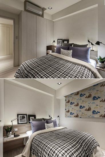 浮见月设计依循墙面打造出半高床头板,延展出收纳和展示机能,并拉宽空间横向尺度。