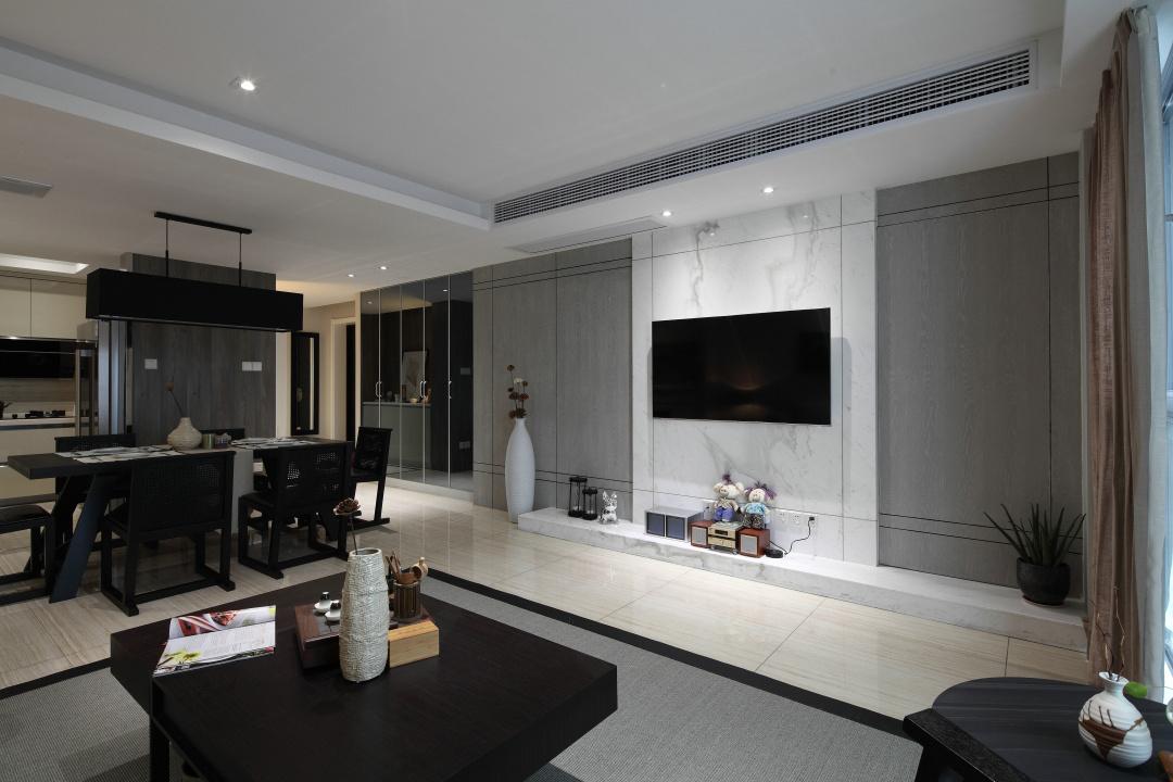 电视背景墙是以白色大理石为主,整体简约大方