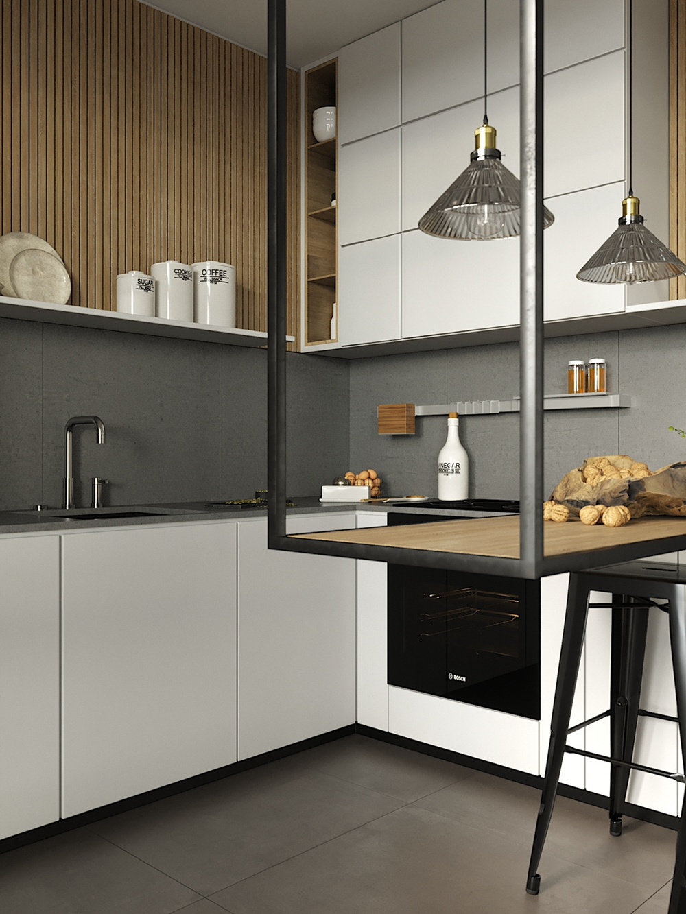 厨房与客厅之间采用玻璃隔断,橱柜延伸为餐桌,让整个空间设计感十足。