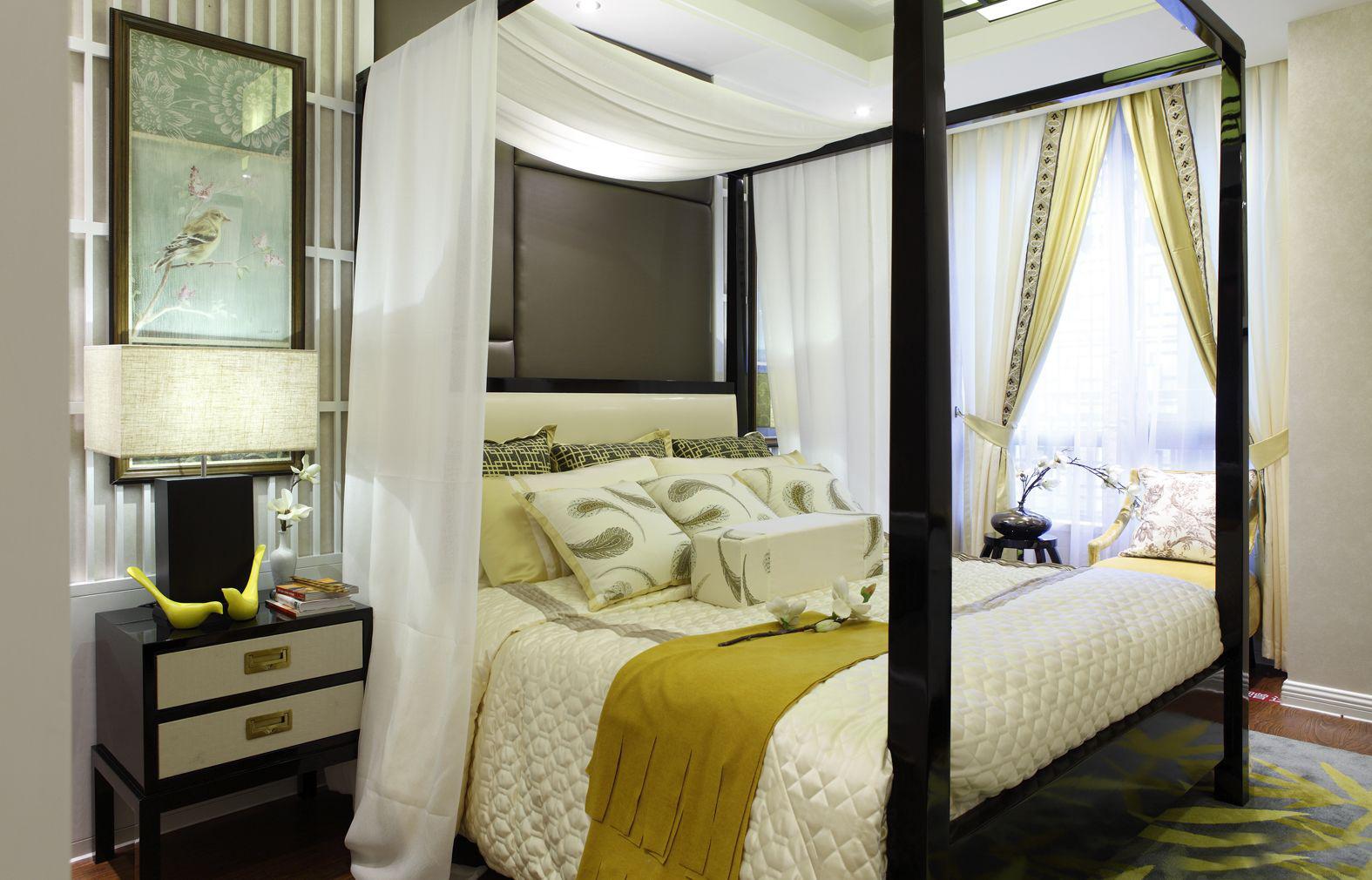 新中式卧室融入东南亚元素,增加了异域色彩。