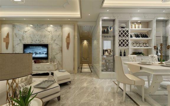 餐厅延续了客厅的设计手法,干净整洁的大理石地板、白色桌椅,保证了空间的整体感。