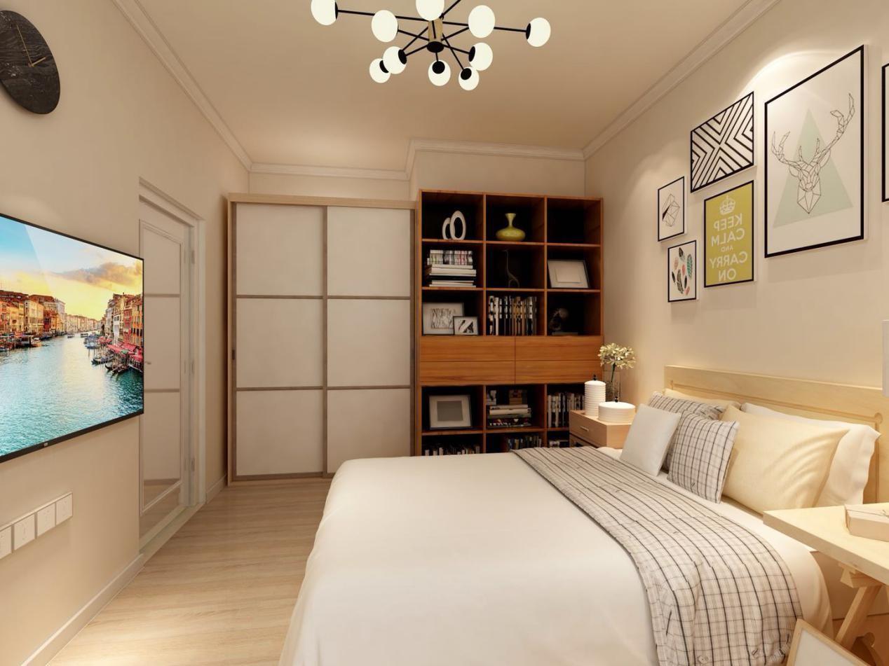主卧采用叠级石膏线来突显空间,通顶储物柜更显大气,掩门柜和开放柜相结合,能够收纳更多的东西。